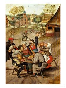 The Servants Breakfast After the Wedding by Pieter Bruegel the Elder
