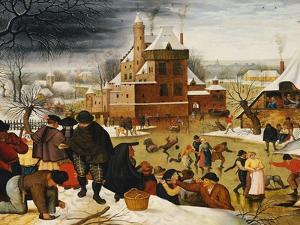 Townsfolk Skating on a Castle Moat by Pieter Bruegel the Elder