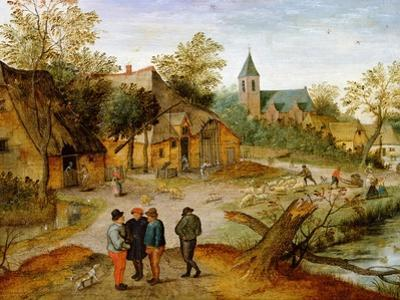 A Village Landscape with Farmers, 1634 by Pieter Brueghel the Younger