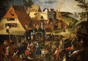 Dutch Proverb Painting, 1580 by Pieter Brueghel the Younger