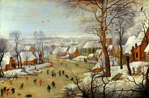 Winter Landscape with Skaters and a Bird Trap by Pieter Brueghel the Younger