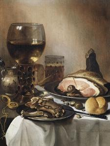 A Breakfast Still Life of a Roemer Ham and Meat on Pewter Plates, Bread and a Gold Verge Watch on… by Pieter Claesz