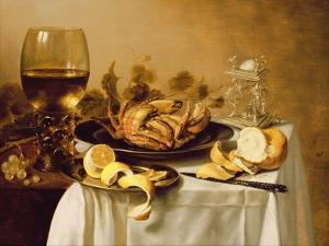 A Still Life with a Roemer, a Crab and a Peeled Lemon on a Pewter Plate, a Bunch of Grapes, a… by Pieter Claesz
