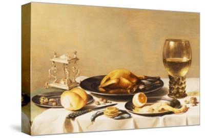A Still Life with a Roemer, a Salt Cellar, a Plucked Chicken and a Peeled Lemon on Pewter Plates,…