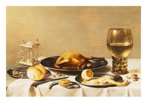 A Still Life with a Roemer, a Salt Cellar, a Plucked Chicken and a Peeled Lemon on Pewter Plates,… by Pieter Claesz