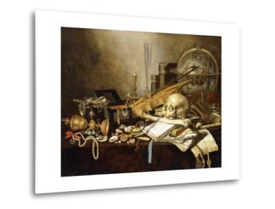A Vanitas Still Life of Musical Instruments and Manuscripts, an Overturned Gilt Covered Goblet, a?