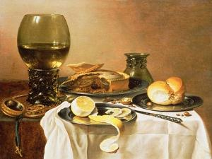 Breakfast Still Life with Roemer, Meat Pie, Lemon and Bread, 1640 by Pieter Claesz