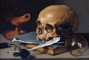 Still Life with Skull and Quill by Pieter Claesz