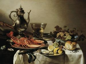 Table with Lobster, Silver Jug, Big Berkemeyer, Fruit Bowl, Violin and Books, 1641 by Pieter Claesz
