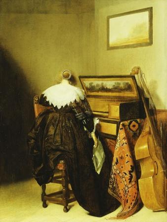 A Seated Lady Seen from Behind before a Virginal