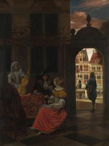 A Musical Party in a Courtyard, 1677 by Pieter de Hooch