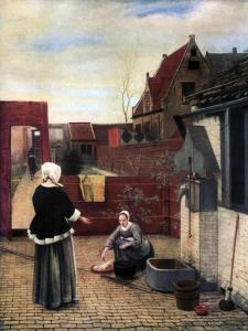 A Woman and Her Maid in a Courtyard, C1660-1661 by Pieter de Hooch