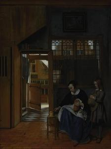 A Woman Preparing Bread and Butter for a Boy, c.1660-3 by Pieter de Hooch