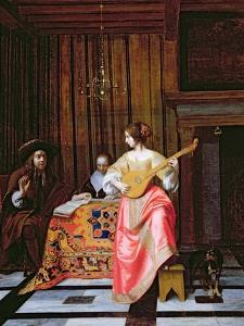A Woman with a Cittern and a Singing Couple at a Table, C.1667 by Pieter de Hooch