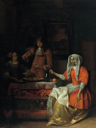 Interior with Two Women and a Man Drinking and Eating Oysters