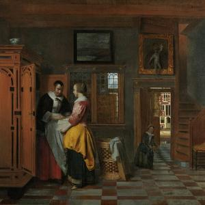 Interior with Women Beside a Linen Cupboard by Pieter de Hooch