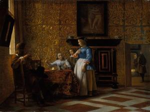 Leisure time in an elegant Setting, c.1663-65 by Pieter de Hooch