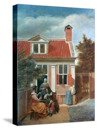 Three Women and a Man in a Courtyard Behind a House, C1657-1659