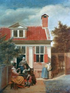 Three Women and a Man in a Courtyard Behind a House, C1657-1659 by Pieter de Hooch