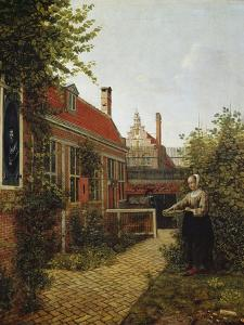 Woman with a Basket of Beans in a Kitchen Garden. Ca. 1660 by Pieter de Hooch