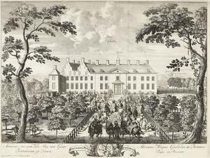 Arrival of William III at the hunting lodge, Hof te Dieren, 1691 by Pieter Schenk