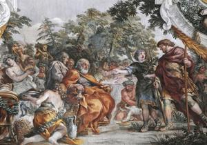 Aeneas with King Evander and Pallas, Detail from Stories of Aeneas by Pietro da Cortona