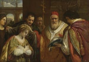 Saint Domitilla Receiving the Veil from Pope Clement I by Pietro da Cortona