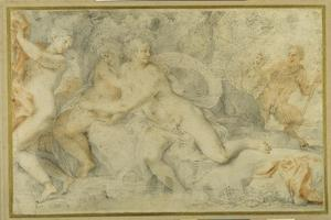 Pan and a Companion Surprise Three Nymphs Bathing by Pietro da Pietri