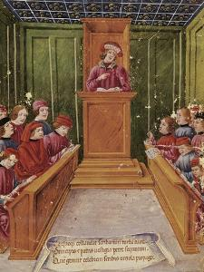 Pietro Da Unzola Lecturing from Legal Text to Pupils During Law Lecture at the University of Bologn