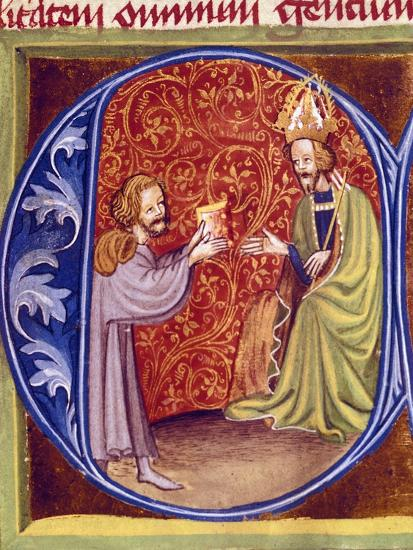 Pietro De Crescenzi Presenting a Copy of His Agricultural Treatise to King Charles IV of Bohemia--Giclee Print