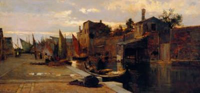 Canal of the Venetian Lagoon by Pietro Fragiacomo