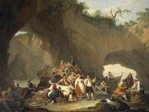 Ordinary People Having Lunch in Front of the Grotto by Pietro Fragiacomo