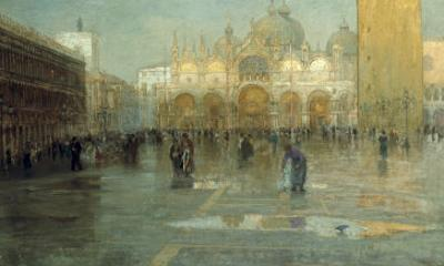 Piazza San Marco after the Rain, Venice, 1914 by Pietro Fragiacomo