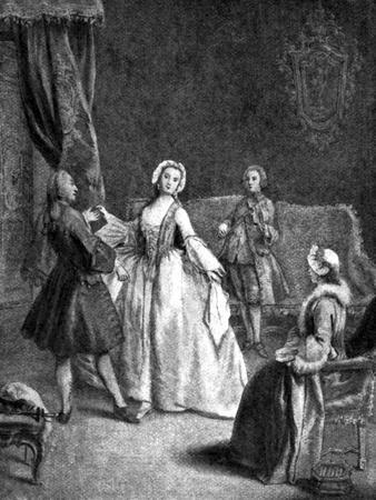 A Dancing Lesson - after painting by Pietro Longhi