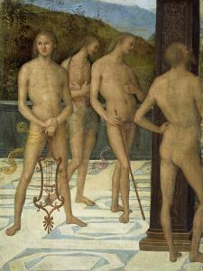 A Fragment: Four Male Nude Figures, C.1505 by Pietro Perugino