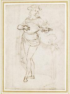 A Lute Player (Pen and Dark Brown Ink over Black Chalk on Off-White Paper) by Pietro Perugino