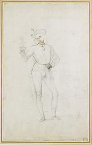 A Study for a Figure in an Adoration of the Magi (Black Chalk with Pen and Brown Ink on White Paper by Pietro Perugino