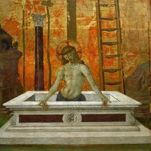 Christ rising from the tomb,1472-73 Three elements of a predella. by Pietro Perugino