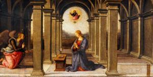 Durante Altarpiece: Predella with the Annunciation by Pietro Perugino