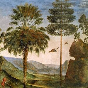 Man Leaning on a Staff, Birds Flying, Trees, Rocks, a Lake and a Distant City with Spires by Pietro Perugino