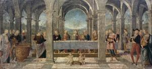 Marriage at Cana, Detail of the Predella of the St Augustine Altarpiece, 1502-1523 by Pietro Perugino