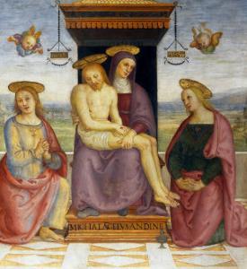 Pieta with Saints John and Mary Magdalene by Pietro Perugino
