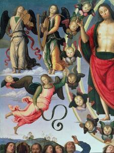 The Ascension of Christ, Detail of Christ and Musician Angels, Upper Right Section, 1495-98 by Pietro Perugino