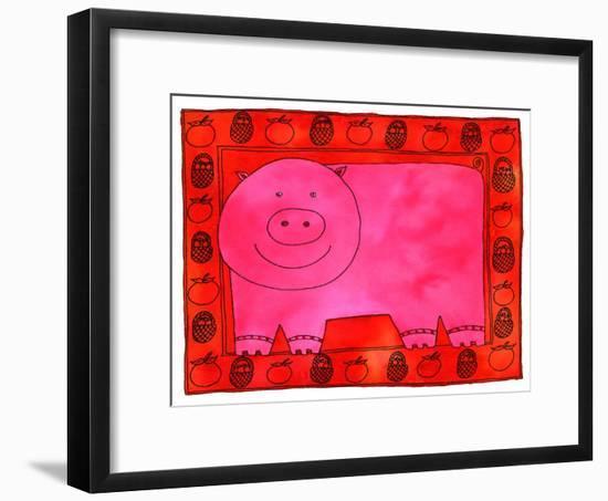 Pig and Apples, 2003-Julie Nicholls-Framed Giclee Print