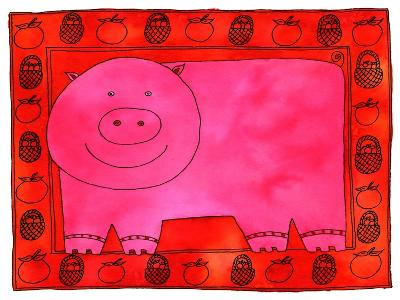 Pig and Apples, 2003-Julie Nicholls-Giclee Print