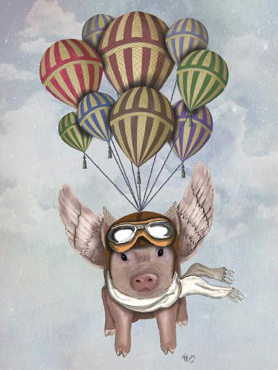 Pig and Balloons-Fab Funky-Art Print