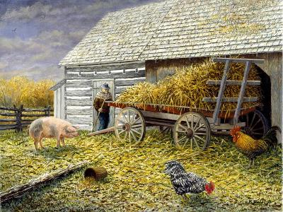 Pig and Chickens-Kevin Dodds-Giclee Print