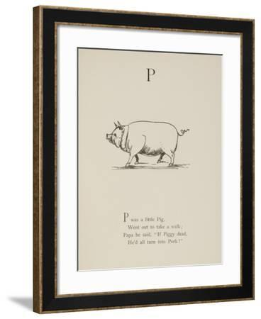 Pig Illustrations and Verse From Nonsense Alphabets by Edward Lear.-Edward Lear-Framed Giclee Print