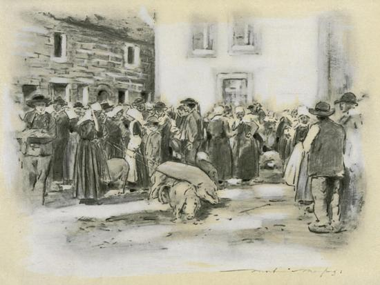 Pig Market-Mortimer Ludington Menpes-Giclee Print