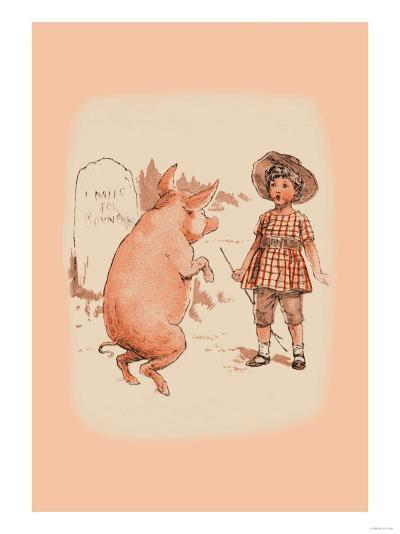 Pig on Hind Legs and Little Girl--Art Print